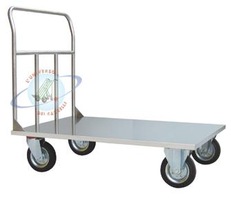 Carrello a pianale mm 800x500 acciaio alimentare Inox AISI 304,
